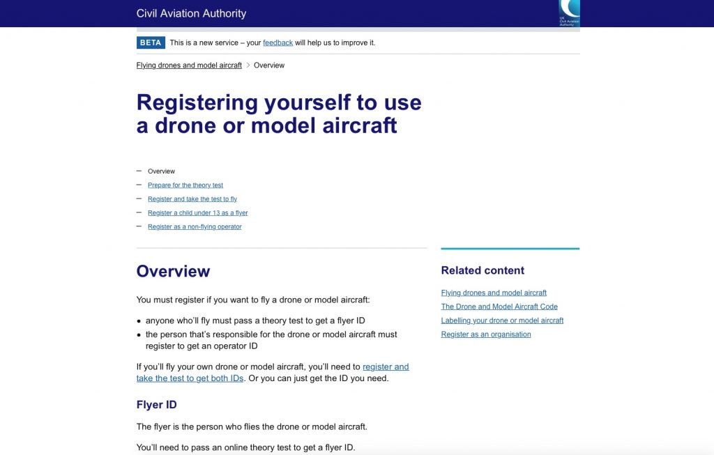 UAV drone surveys CAA registration